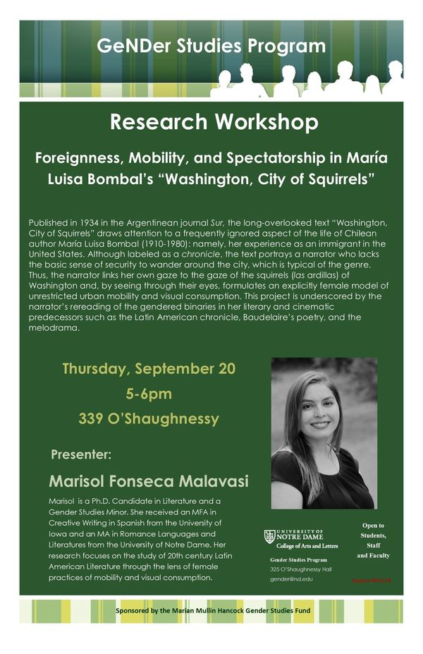 Foreignness Mobility And Spectatorship In Mar A Luisa Bombal S Washington City Of Squirrels Poster